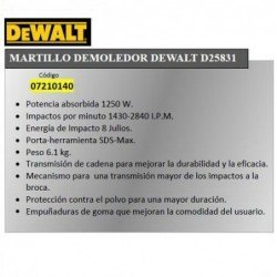 Martillo Demoledor Dewalt...